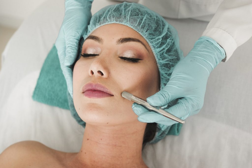 woman receiving restylane skinbooster treatment at an aesthetic clinic